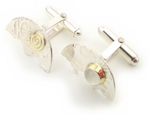 Halved disc asymmetrical cufflinks unusual design with moontone